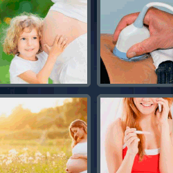 4 fotos 1 palabra mujer embarazada