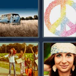 4 fotos 1 palabra simbolo de paz