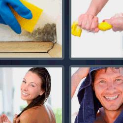 4 fotos 1 palabra toalla en la cabeza