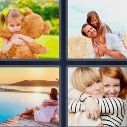 4 fotos 1 palabra niña con oso de peluche