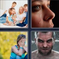 4 fotos 1 palabra mujer llorando