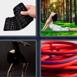 4 fotos 1 palabra mujer haciéndo yoga