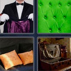 4 fotos 1 palabra mayordomo con chaqueta