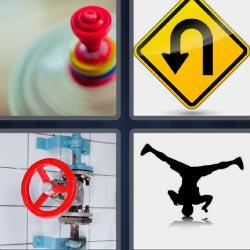 4 fotos 1 palabra señal amarilla de cambio de sentido