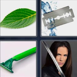 4 fotos 1 palabra cuchilla de afeitar