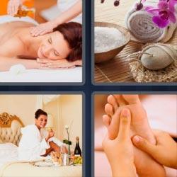 4 fotos 1 palabra masaje en la espalda
