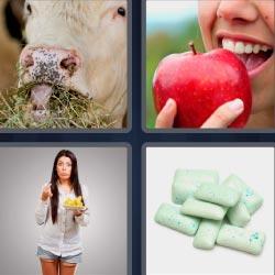 4 fotos 1 palabra mujer comiendo
