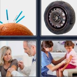 4 fotos 1 palabra doctor con paciente