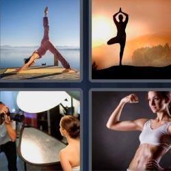 4 fotos 1 palabra mujer haciendo yoga atardecer