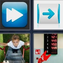 4 fotos 1 palabra flechas botón de avanzar