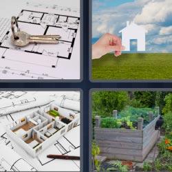 4 fotos 1 palabra plano llaves casa caja con plantas