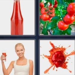 4 fotos 1 palabra botella con algo rojo mujer con bebida roja