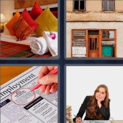 4 fotos 1 palabra cojines puertas periódico mujer