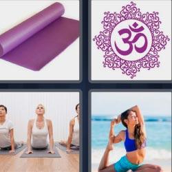 4Fotos 1Palabra esterilla morada mujeres haciendo yoga
