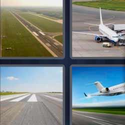 4 fotos 1 palabra avión pista de aterrizaje