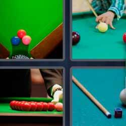4 fotos 1 palabra mesa verde con bolas de colores