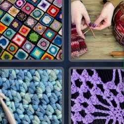 4 fotos 1 palabra colcha de colores mujer tejiendo