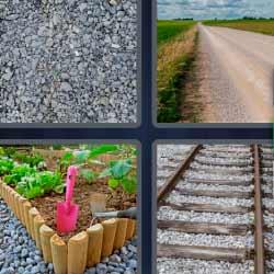 4 fotos 1 palabra arena camino jardín vías de tren