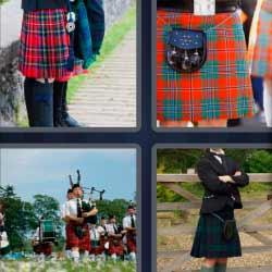 4 fotos 1 palabra falda roja a cuadros