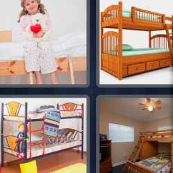 4 fotos 1 palabra niña con un corazón en la mano camas