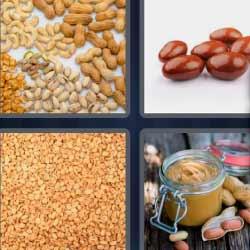 4 fotos 1 palabra frutos secos. Cacahuates.