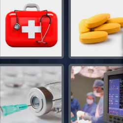 4 fotos 1 palabra maletín rojo con cruz blanca pastillas