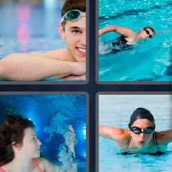 4 fotos 1 palabra hombre nadando mujer bajo el agua