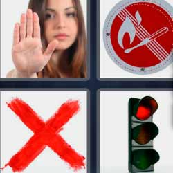 4 fotos 1 palabra equis roja semáforo rojo señal mujer