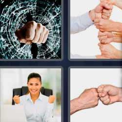 4 fotos 1 palabra 4 letras manos cristal roto