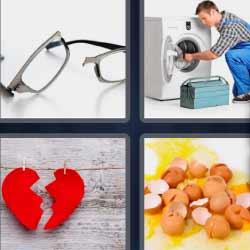 4 fotos 1 palabra lentes rotas lavadora corazón huevos