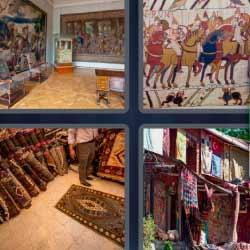 4 fotos 1 palabra sala de un museo cuadro alfombras