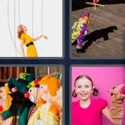 4 fotos 1 palabra mujer con cuerdas marioneta