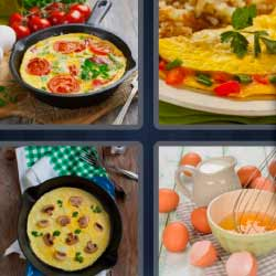 4 fotos 1 palabra comida huevos