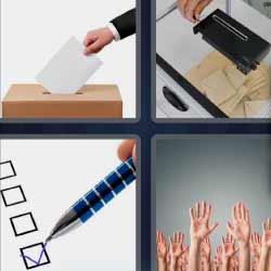 4 fotos 1 palabra urna manos bolígrafo