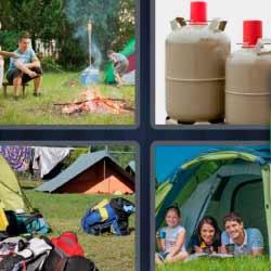 4 fotos 1 palabra hoguera bombonas de butano acampada
