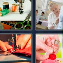 4 fotos 1 palabra hilos de coser aguja y dedal modista