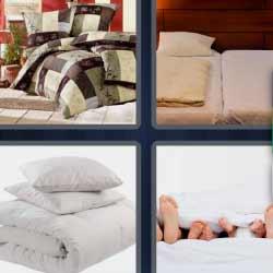 4 fotos 1 palabra cama sábanas cojines
