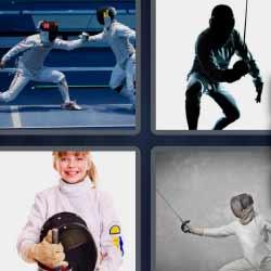 4 fotos 1 palabra luchador con espada niña de blanco