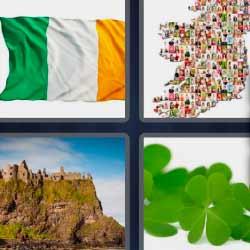 4 fotos 1 palabra bandera castillo tréboles