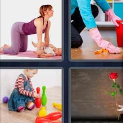 4 fotos 1 palabra limpiando el piso mujer con bebé