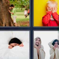 4 fotos 1 palabra niño contando en un árbol pareja con frío