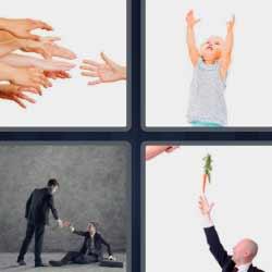 4 fotos 1 palabra manos levantando el brazo