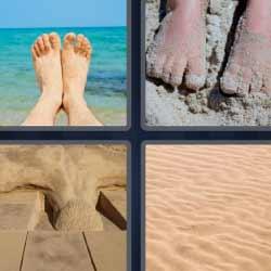 4 fotos 1 palabra pies llenos de arena