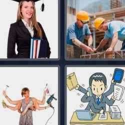 4 fotos 1 palabra recién graduada