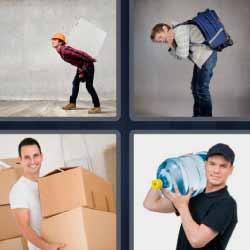 4 fotos 1 palabra hombre llevando cajas