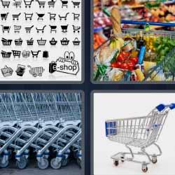 4 fotos 1 palabra carro con frutas