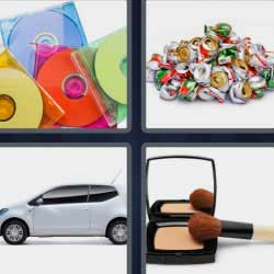 4 fotos 1 palabra discos de colores maquillaje