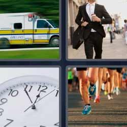 4 fotos 1 palabra ambulancia reloj