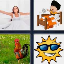 4 fotos 1 palabra sol gallo niño en la cama