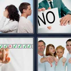 4 fotos 1 palabra cartel con NO pareja dándose la espalda